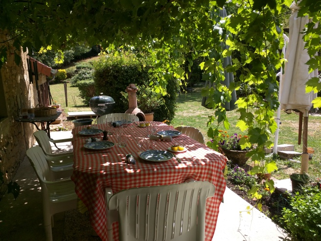 The grapevines above the outside table are over 50 years old.