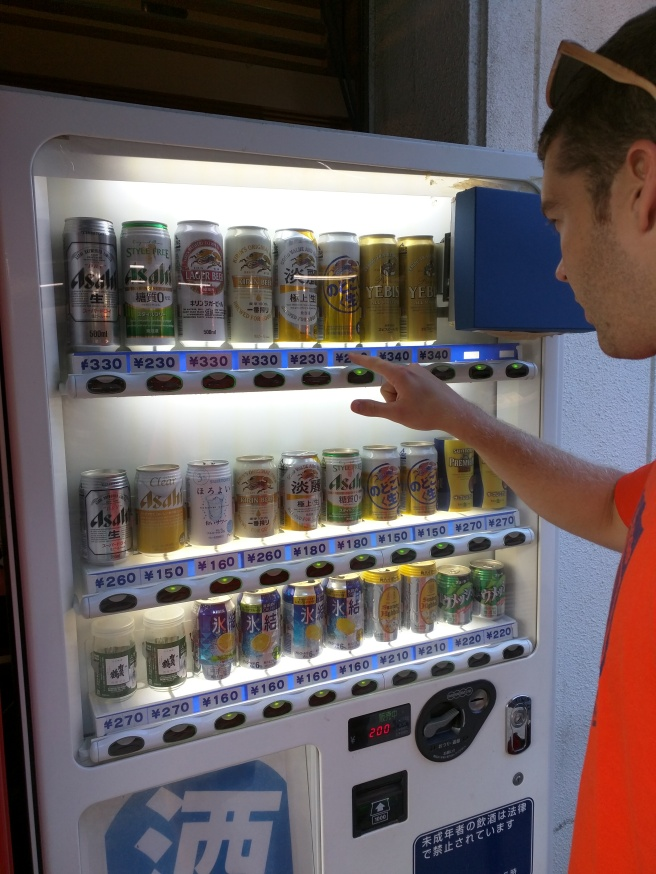 Right outside the train station, Dan finally found a beer vending machine!
